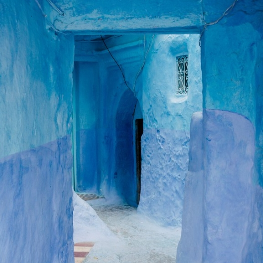 Blue Walls And Door In Medina In Chefchaouen, Morocco